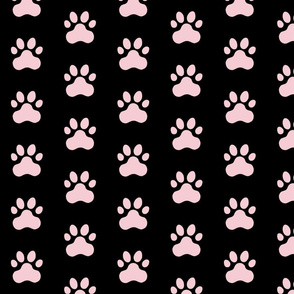 Pawprint Polka dots - 1 inch (2.54cm) - Pale Pink (#F5CCD3) on Black (#000000)