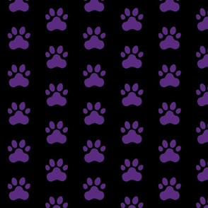 Pawprint Polka dots - 1 inch (2.54cm) - Deep Purple (#5B2B82) on Black (#000000)