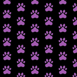 Pawprint Polka dots - 1 inch (2.54cm) - Dark Purple (#5E259B) on Black (#000000)