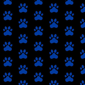 Pawprint Polka dots - 1 inch (2.54cm) - Dark Blue (#003BA2) on Black (#000000)
