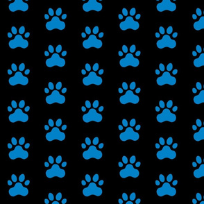 Pawprint Polka dots - 1 inch (2.54cm) - Light Blue (#0081C8) on Black (#000000)