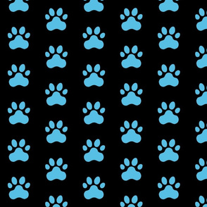 Pawprint Polka dots - 1 inch (2.54cm) - Pale Blue (#57BEE4) on Black (#000000)