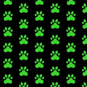Pawprint Polka dots - 1 inch (2.54cm) - Mid Green (#3AD42D) on Black (#000000)