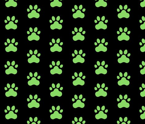 R20150927-077_-_fabric_design_-_pawprint_-_pale_green_89da65_on_black_shop_preview
