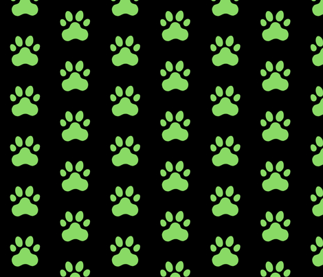Pawprint Polka dots - 1 inch (2.54cm) - Light Green (#89DA65) on Black (#000000) fabric by elsielevelsup on Spoonflower - custom fabric