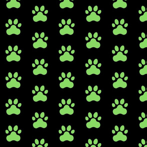 Pawprint Polka dots - 1 inch (2.54cm) - Light Green (#89DA65) on Black (#000000)