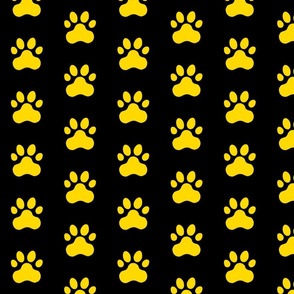 Pawprint Polka dots - 1 inch (2.54cm) - Yellow (#FFD900) on Black (#000000)