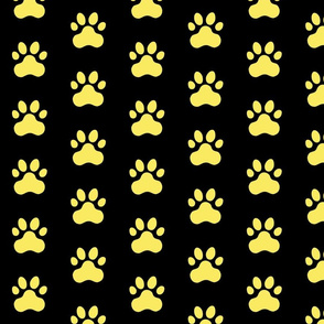 Pawprint Polka dots - 1 inch (2.54cm) - Pale Yellow (#F9EA62) on Black (#000000)