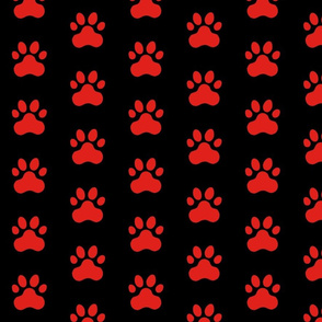 Pawprint Polka dots - 1 inch (2.54cm) - Red (#E0201B) on Black (#000000)