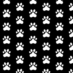 Pawprint Polka dots - 1 inch (2.54cm) - White (#FFFFFF) on Black (#000000)