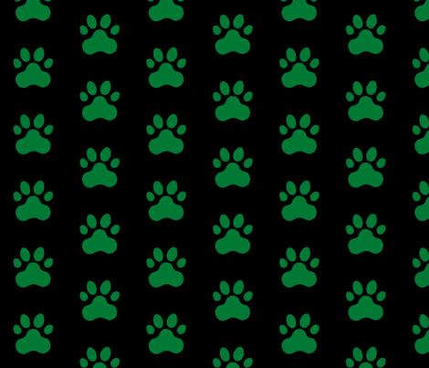 Pawprint Polka dots - 1 inch (2.54cm) - Deep Green (#007934) on Black (#000000) fabric by elsielevelsup on Spoonflower - custom fabric