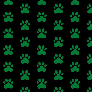 Pawprint Polka dots - 1 inch (2.54cm) - Deep Green (#007934) on Black (#000000)