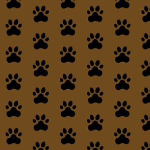Pawprint Polka dots - 1 inch (2.54cm) - Black (#000000) on Dark Brown (#6E4A1C)