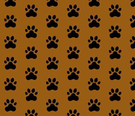 Pawprint Polka dots - 1 inch (2.54cm) - Black (#000000) on Mid Brown (#995E13) fabric by elsielevelsup on Spoonflower - custom fabric