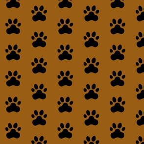 Pawprint Polka dots - 1 inch (2.54cm) - Black (#000000) on Mid Brown (#995E13)