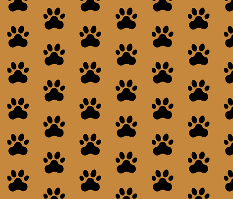 Pawprint Polka dots - 1 inch (2.54cm) - Black (#000000) on Brown (#C6883D) fabric by elsielevelsup on Spoonflower - custom fabric