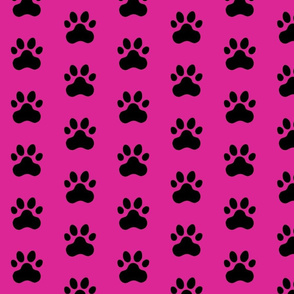 Pawprint Polka dots - 1 inch (2.54cm) - Black (#000000) on Pink (#DD2695)