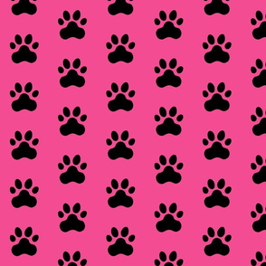 Pawprint Polka dots - 1 inch (2.54cm) - Black (#000000) on Mid Pink (#F34C92)