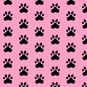 Pawprint Polka dots - 1 inch (2.54cm) - Black (#000000) on Light Pink (#FBA0C6)