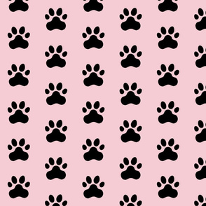 Pawprint Polka dots - 1 inch (2.54cm) - Black (#000000) on Pale Pink (#F5CCD3)