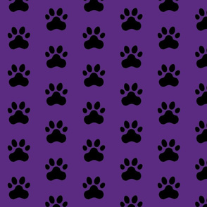 Pawprint Polka dots - 1 inch (2.54cm) - Black (#000000) on Dark Purple (#5E259B)