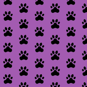 Pawprint Polka dots - 1 inch (2.54cm) - Black (#000000) on Light Purple (#A25BB1)