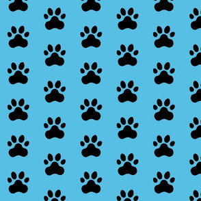 Pawprint Polka dots - 1 inch (2.54cm) - Black (#000000) on Pale Blue (#57BEE4)