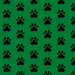Pawprint Polka dots - 1 inch (2.54cm) - Black (#000000) on Deep Green (#007934)