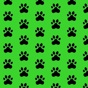 Pawprint Polka dots - 1 inch (2.54cm) - Black (#000000) on Mid Green (#3AD42D)