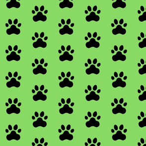 Pawprint Polka dots - 1 inch (2.54cm) - Black (#000000) on Light Green (#89DA65)