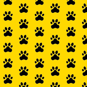 Pawprint Polka dots - 1 inch (2.54cm) - Black (#000000) on Yellow (#FFD900)