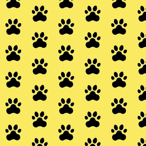 Pawprint Polka dots - 1 inch (2.54cm) - Black (#000000) on Pale Yellow (#F9EA62)