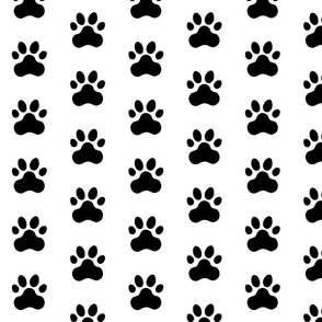 Pawprint Polka dots - 1 inch (2.54cm) - Black (#000000) on White (#FFFFFF)