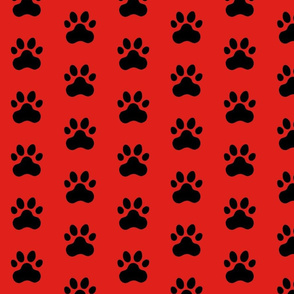 Pawprint Polka dots - 1 inch (2.54cm) - Black (#000000) on Red (#E0201B)