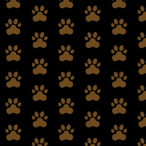 Pawprint Polka dots - 1 inch (2.54cm) - Dark Brown (#6E4A1C) on Black (#000000)