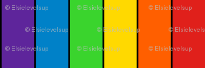 Stripes - Vertical - 2 inch (5.08cm) - Rainbow stripes with 0.15 inch (0.38cm) thick Black (#000000) Outlines