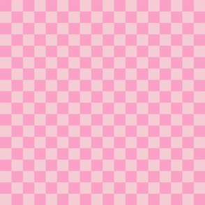 Checks - 1 inch (2.54cm) - Pale Pink (#F5CCD3) and Light Pink (#FBA0C6)