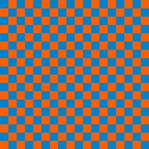 Checks - 1 inch (2.54cm) - Orange (#FF5F00) & Light Blue (#0081C8)