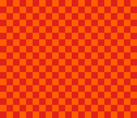 Checks - 1 inch (2.54cm) - Orange (#FF5F00) & Red (#E0201B) fabric by elsielevelsup on Spoonflower - custom fabric