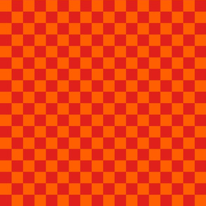 Checks - 1 inch (2.54cm) - Orange (#FF5F00) & Red (#E0201B)