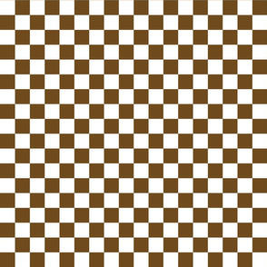 Checks - 1 inch (2.54cm) - Dark Brown (#6E4A1C) & White (#FFFFFF)