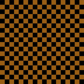 Checks - 1 inch (2.54cm) - Brown (#995E13) & Black (#000000)