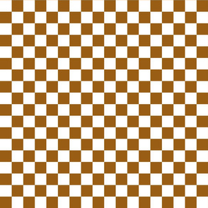 Checks - 1 inch (2.54cm) - Brown (#995E13) & White (#FFFFFF)