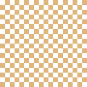 Checks - 1 inch (2.54cm) - Pale Brown (#E0B67C) & White (#FFFFFF)