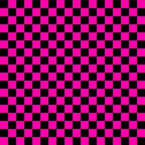 Checks - 1 inch (2.54cm) - Pink (#FF00AA) & Black (#000000)