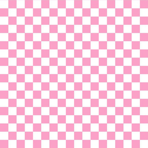 Checks - 1 inch (2.54cm) - Light Pink (#FBA0C6) & White (#FFFFFF)