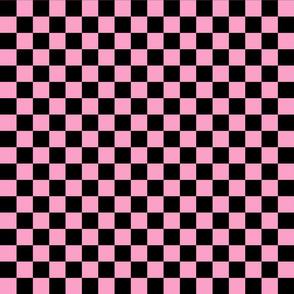 Checks - 1 inch (2.54cm) - Black (#000000) & Light Pink (#FBA0C6)