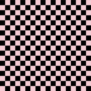Checks - 1 inch (2.54cm) - Black (#000000) & Pale Pink (#F5CCD3)