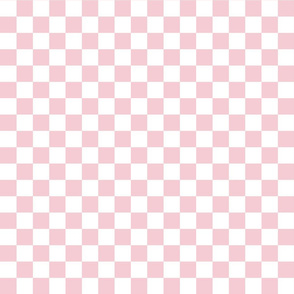 Checks - 1 inch (2.54cm) - Pale Pink (#F5CCD3) & White (#FFFFFF)