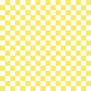 Checks - 1 inch (2.54cm) - White (#FFFFFF) & Light Yellow (#F9EA62)